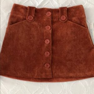 Mini corduroy button up skirt